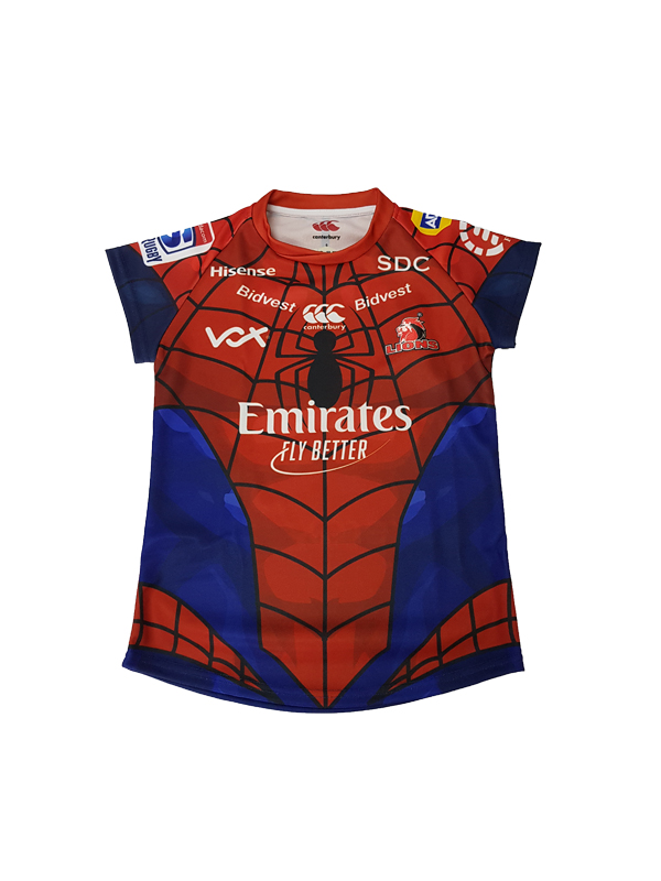 c8477b9e91b Jersey Ladies Lions Super Rugby Marvel 2019 Spiderman - Lions Rugby Shop