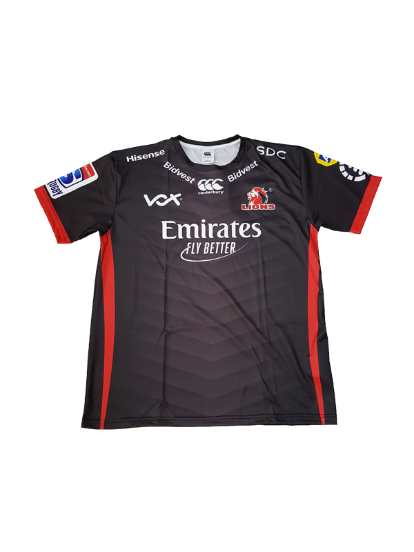 a988156483a7d0 Fan Tee Mens Lions Super Rugby 2019 Away Black - Lions Rugby Shop